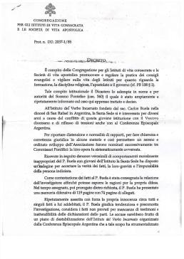 2010. Decreto CIVCSVA 2010. Pena del P. Buela por abusos - Italian